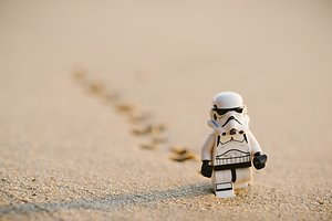 Fees and FAQ. storm trooper in sand